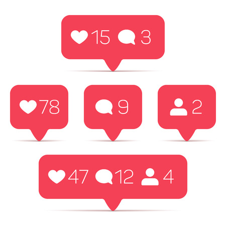 follower: Like, follower, comment vector icons set. Template of counter with info for social networking. Illustration of web counter