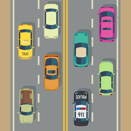 道路交通トップ ビュー車とトラックの通りベクトル。警察の車やタクシー、交通機関と道路にイラストを見ると交通します。  イラスト・ベクター素材