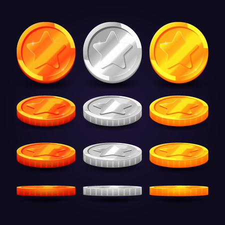 computer animation: Gold, silver, and copper coins in different positions. Vector elements for animation and computer games. Set of metal coins, illustration of coin money Illustration