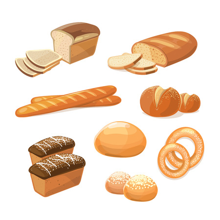 bun: Bakery and pastry products. Various sorts of bread vector icons. Bakery food for breakfast, illustration of bakery bread and baguette