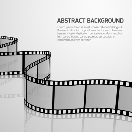 cinematography: Vector cinema movie background with retro film strip roll. Negative film strip for cinema, illustration of concept banner fo cinematography and cinema