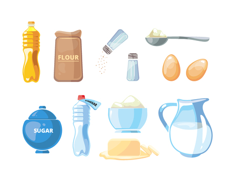 Cartoon food baking and cooking vector ingredients. Cooking ingredient sugar and flour, illustration cooking with milk and egg