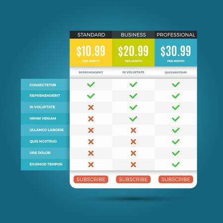 plans d'affaires Vector de prix pour les sites Web et applications. Bannière avec des prix pour le site Web, illustration du modèle prix Internet Vecteurs