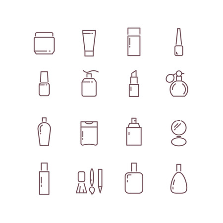 cosmetic product: Cosmetic package bottles thin outline vector icons. Set of cosmetic product in linear style and illustration of collection cosmetics for care female