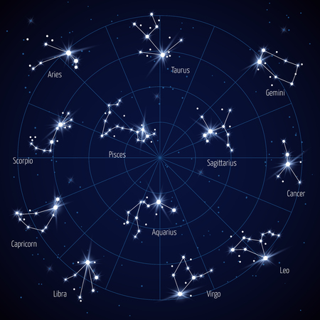 Vector sky star map with constellations stars. Set of constellation in space night illustration