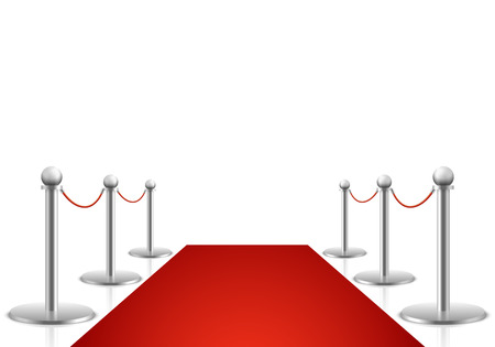 red carpet background: Red carpet vector illustration. Awards show background with carpet path, entrance to event premiere on red carpet