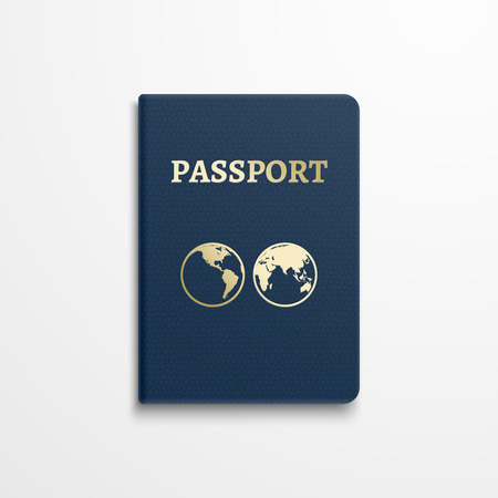gold globe: Passport with gold globe earth emblem on cover. Passport document for identification, isolated passport with sign earth. illustration Illustration