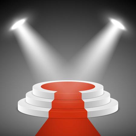 award ceremony: Spotlights illuminate stage pedestal with red carpet. Pedestal for award ceremony. Illustration empty pedestal stage Illustration