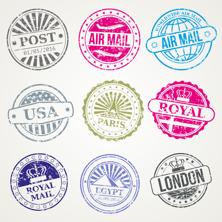 royal mail: Retro postage stamps for airmail . Set of stamp with name city, illustration of vintage stamps