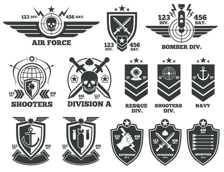 Vintage military labels and patches. Emblem and military badge, patch insignia for army and military air force illustration