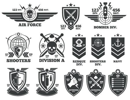 Vintage Military Etiketten und Patches. Emblem und militärische Abzeichen, Patch-Abzeichen für Armee und militärische Luftwaffe Illustration Vektorgrafik