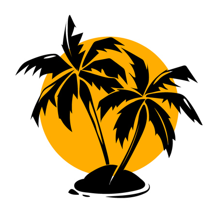 Tropical paradise palm trees and sun . Travel paradise and summer design, illustration