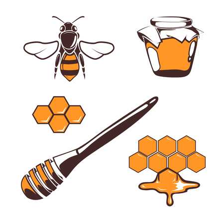 honeyed: Beekeeper, bee, honey design elements isolated over white. Natural honeyed illustration