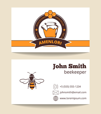 Beekeeper business card template. Poster beekeeping and agriculture illustration
