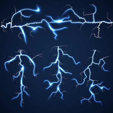 streak lightning: Lightning bolts over dark sky set. Storm and flash bright, summer light vector illustration Illustration
