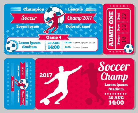 admit: Soccer, football sports vector ticket card, retro design. Vintage card for admit to football. Vector illustration