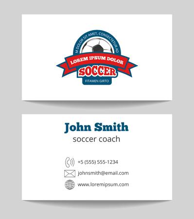 soccer coach: Soccer coach business card template Stock Photo