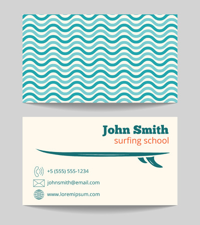 surfing school business card template with ocean and sea waves
