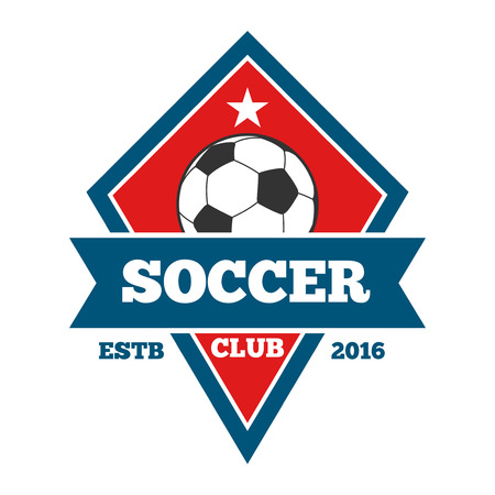collegiate: Vector soccer, badge, emblem template in red and blue. Football badge and banner illustration