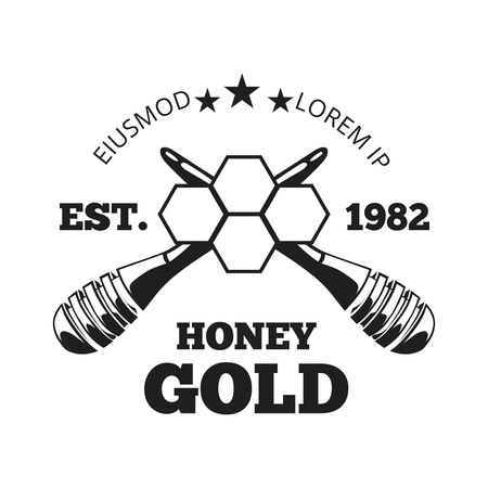 Beekeeper, honey vector label, badge, emblem in black and white.