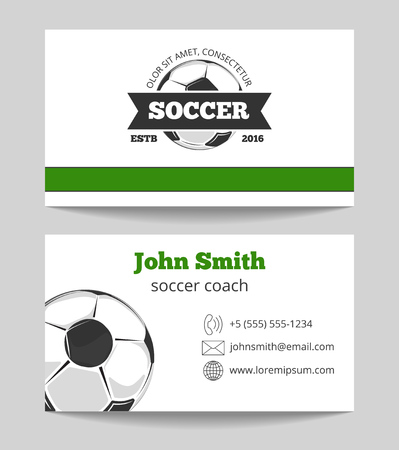 soccer club: Soccer club business card template in green and white colors. Sport ball for game. Vector illustration Illustration