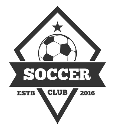 Vector soccer template, emblem in black isolated over white. Sport club label illustration