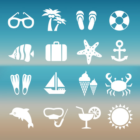vacation time: Summer rest traveling tourism vacation time icons. Set of summer travel icons, illustration of white silhouette travel icons Illustration