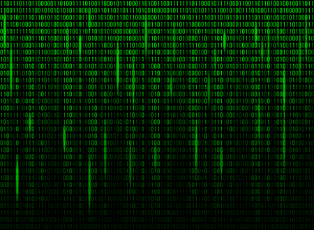numerical: Computer screen binary data code. Numerical continuous code in green color, abstract web data in binary code. Vector illustration