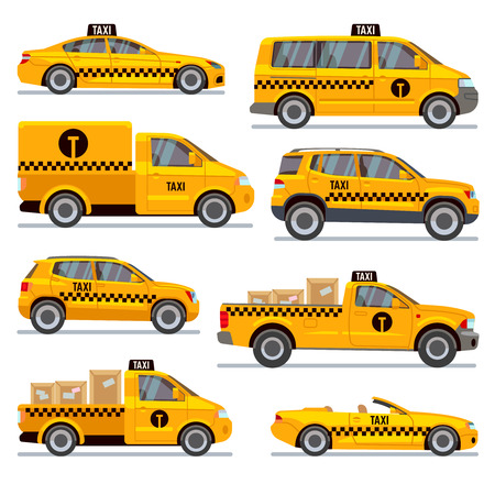 Different taxi types flat vector collection. Automobile taxi for passenger, illustration taxi pickup for transportation parcels Illustration