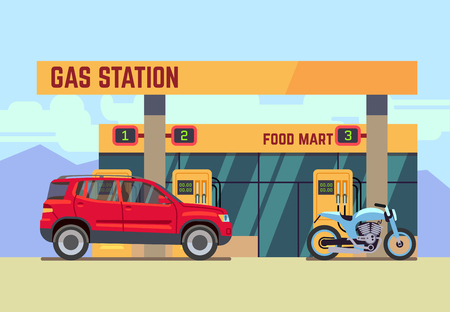 filling station: Car and motorcycle at gas filling station. Car refueled at gas station flat vector illustration