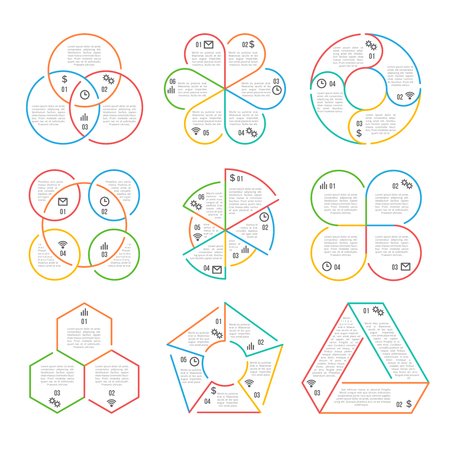 Vector line circle, triangular, hexagonal, pentagonal business infographics charts diagrams graphs set with 3, 4, 5, 6 options, parts, steps. Illustration linear infographic for business