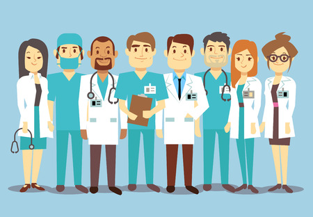 reliable: Hospital medical staff team doctors nurses surgeon vector flat Illustration of character doctor with stethoscope, reliable team of doctors