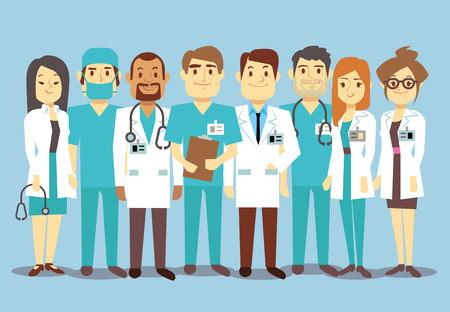 Ziekenhuis medisch personeel team artsenverpleegsters chirurg vector flat Illustratie van karakter arts met een stethoscoop, betrouwbaar team van artsen