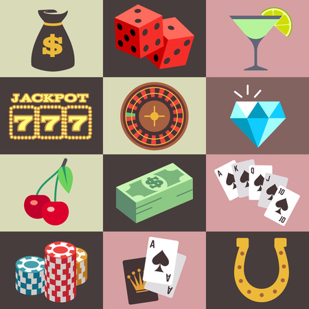 win money: Gambling casino, win money jackpot vector. Set of icon for gambling game, illustration of dice and chip for casino game