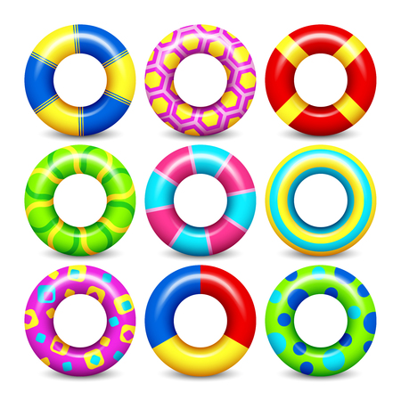 Colorful rubber swim rings vector set for water floating. Swimming circle lifesaver collection for child safe Illustration