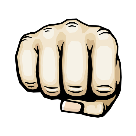 closed fist sign: Color punching hand with clenched fist vector illustration. Human fist isolated on white background, icon human hand for protest and strike