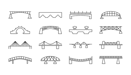 rope bridge: Bridges vector thin line icons. Set of bridge in linear style, illustration of bridges for transport Illustration