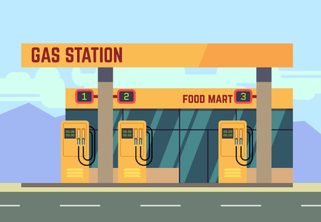 filling station: Gas filling station transport related service. Empty gas station on roadside, illustration of gas filling station with food shop