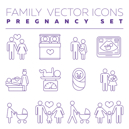 obstetrician: Family health care and pregnancy medicine thin line vector icons. Family with pregnant woman, illustration of creation of young family