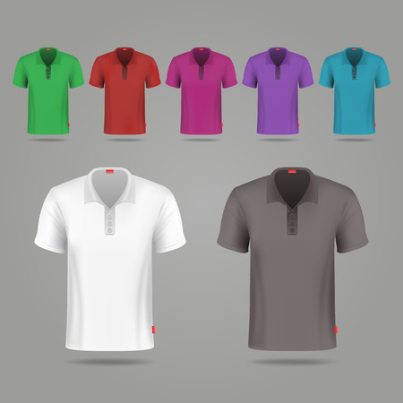 button up shirt: Black, white and color male vector t-shirts design template. Set of color t-shirts for sport, illustration classic t-shirt black and white