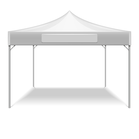 outdoor party: Realistic white folding tent for outdoor party in garden. Vector mockup tent for protection from sun. Illustration tent isolated on white background Illustration