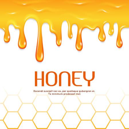 Dripping honey seamless vector border. Natural sweet honey, illustration of golden liquid honey