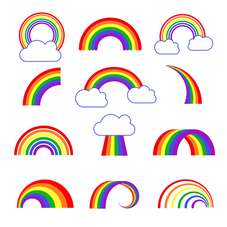 Rainbow vector icons. Arch multi colored rainbow, illustration of colored rainbow with cloud