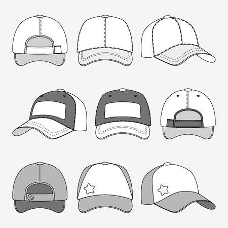 birretes: frente gorra de béisbol hacia atrás y la vista lateral del vector del esquema. Plantilla de tapas, la ilustración de la tapa para el deporte Vectores