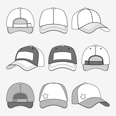 Baseball cap front back and side view outline vector. Template of caps, illustration of cap for sport Illustration