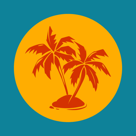 Tropical paradise palm trees and sun logo. Island silhouette emblem for vacation, vector illustration Illustration