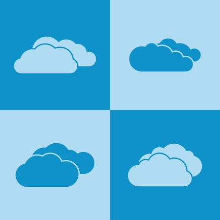 Cloud icons on blue background. Weather clouds and internet communication. Vector illustration