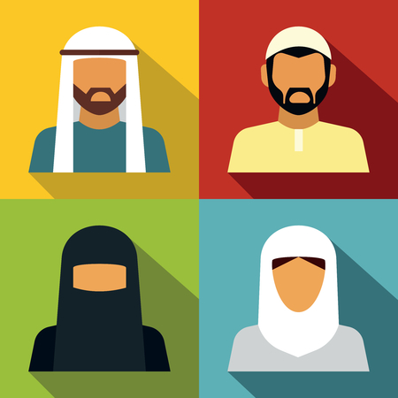 Middle Eastern people avatar on color background with long shadow. Vector illustration