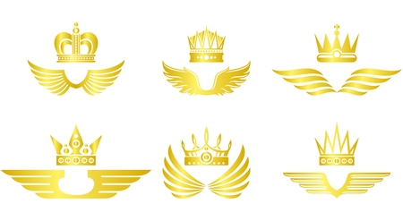 Golden crown with wings vector emblem set