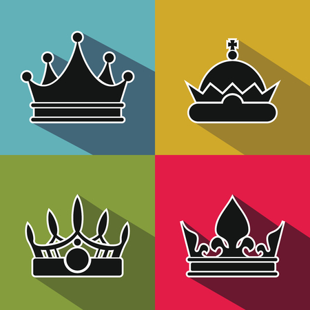 princely: Black crown icons with long shadow on color background. King and prince, royal crown element, vector illustration